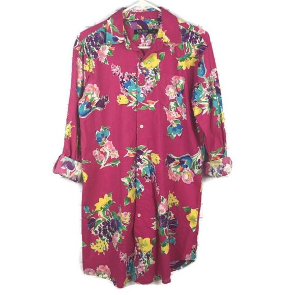 Lauren Ralph Lauren Other - LAUREN RL Floral Print Cotton Blend Sleep Shirt SM